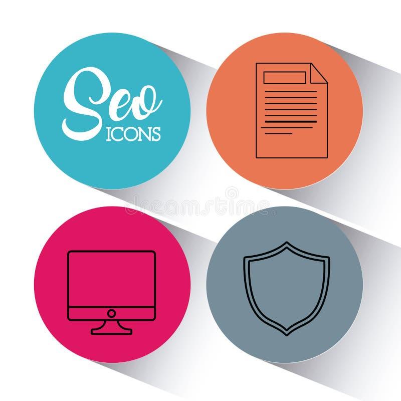 Optimisation för Seo sökandemotor och marknadsföringssymbol vektor illustrationer
