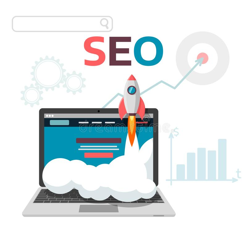 Optimisation graphique du concept SEO Conception plate d'analytics de Web d'illustration de vecteur Site et promotion de page d'a illustration libre de droits