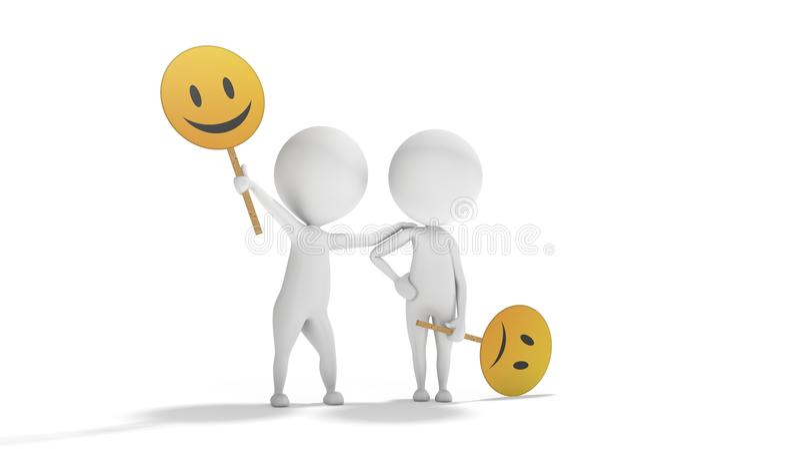 Optimisme contre le pessimisme avec les personnes 3d blanches illustration libre de droits