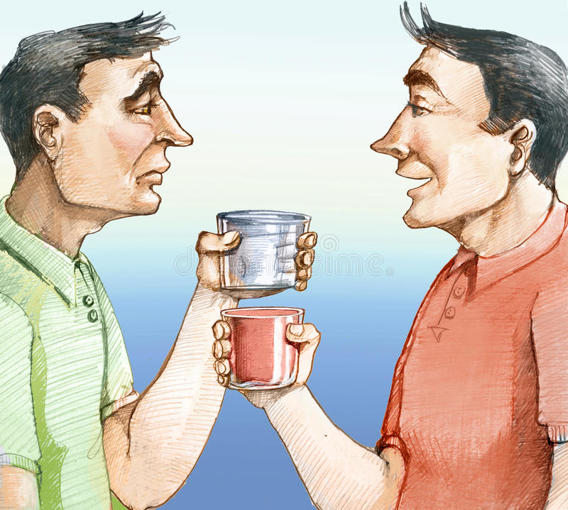 Optimisme en Pessimisme royalty-vrije illustratie