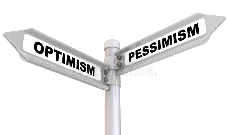 Optimisme et pessimisme Signe de route illustration de vecteur