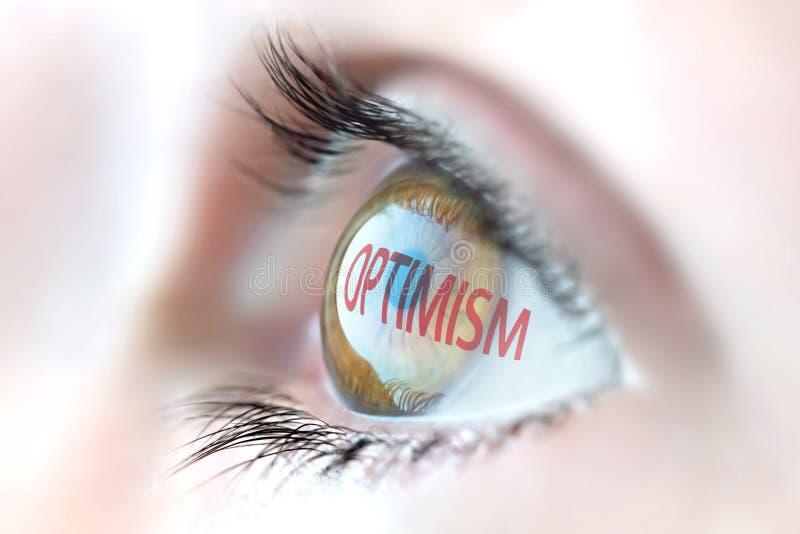 Optimismebezinning in oog stock fotografie