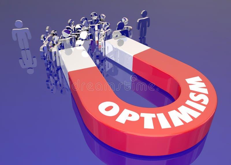 Optimismemagneet die Mensenword aantrekken vector illustratie