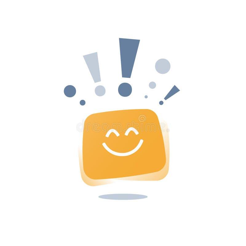 Optimisminst?llningbegrepp, positivt t?nka, uttrycklig sinnesr?relse, bra erfarenhets?terkoppling, lycklig klient, tj?nste- kvali royaltyfri illustrationer