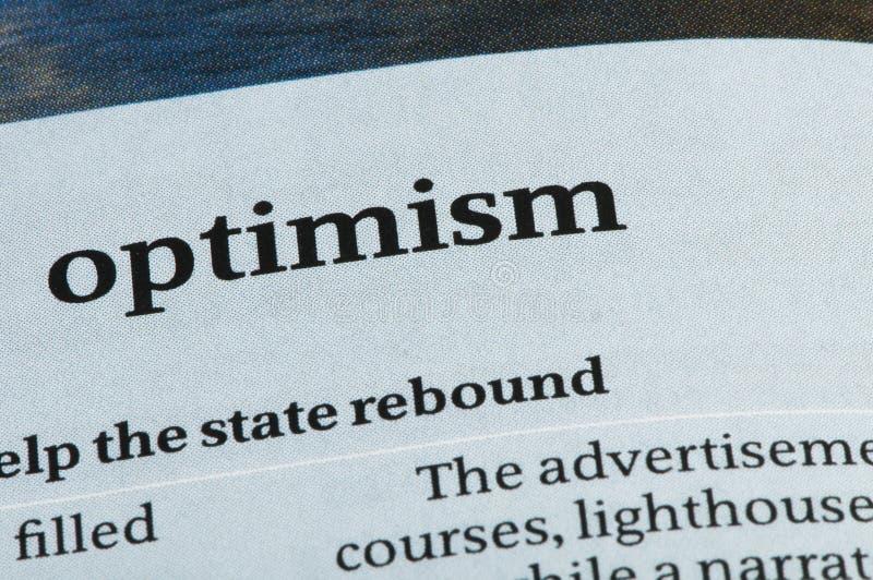 Optimismo de la palabra imagenes de archivo