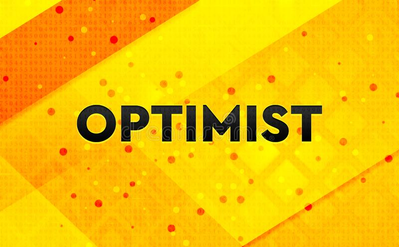 Optimist abstract digital banner yellow background. Optimist isolated on abstract digital banner yellow background stock illustration