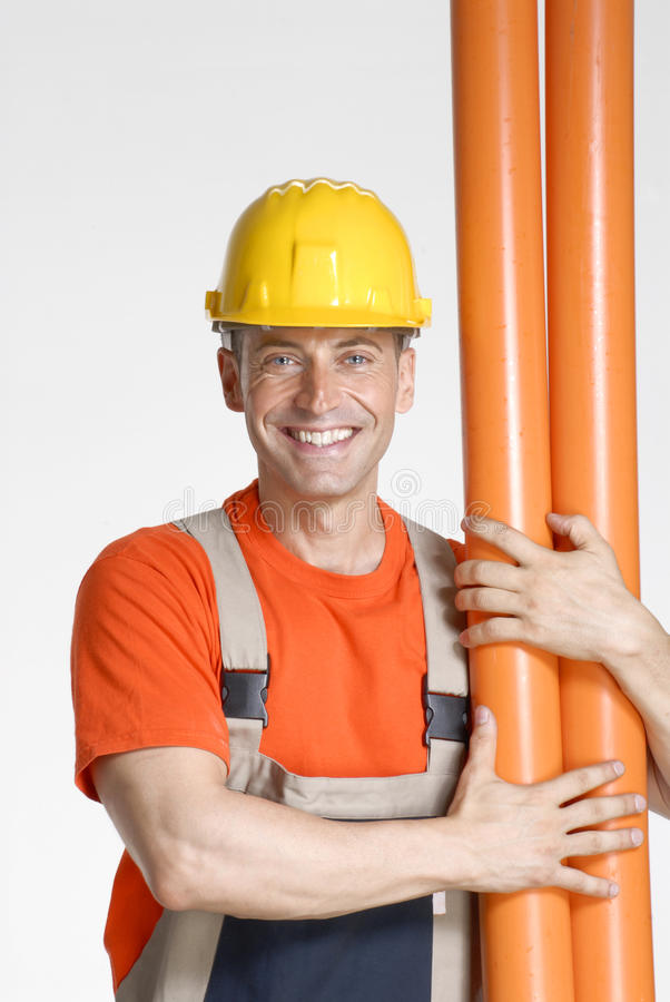 Optimist plumber. stock image