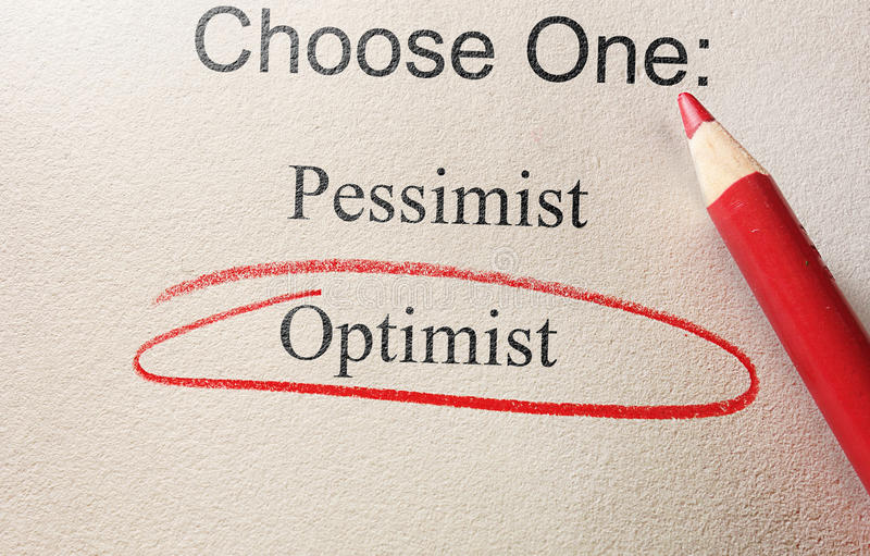 Optimist red circle. Survey question with Optimist circled in red pencil stock image