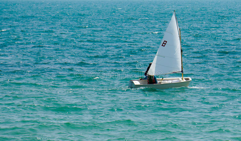 Optimist sailing. Children sail the optimist AT Sattaheep stock image