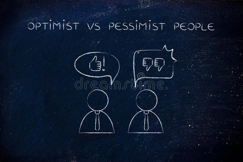 Optimist vs pessimist people, thumbs up or thumbs down. Optimist vs pessimist people: man with thumbs up speech bubble while another man reacts negatively with royalty free stock images