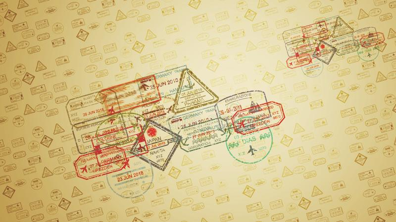 Travel Stamps in Yellow Backdrop. An optimistic 3d illustration of square, oval, triangular and round travel stamps flying over the sandy surface and leaving vector illustration