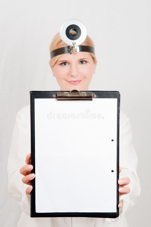 Download Optimistic Female Doctor With Folder Stock Photo - Image of black, laboratory: 11316470