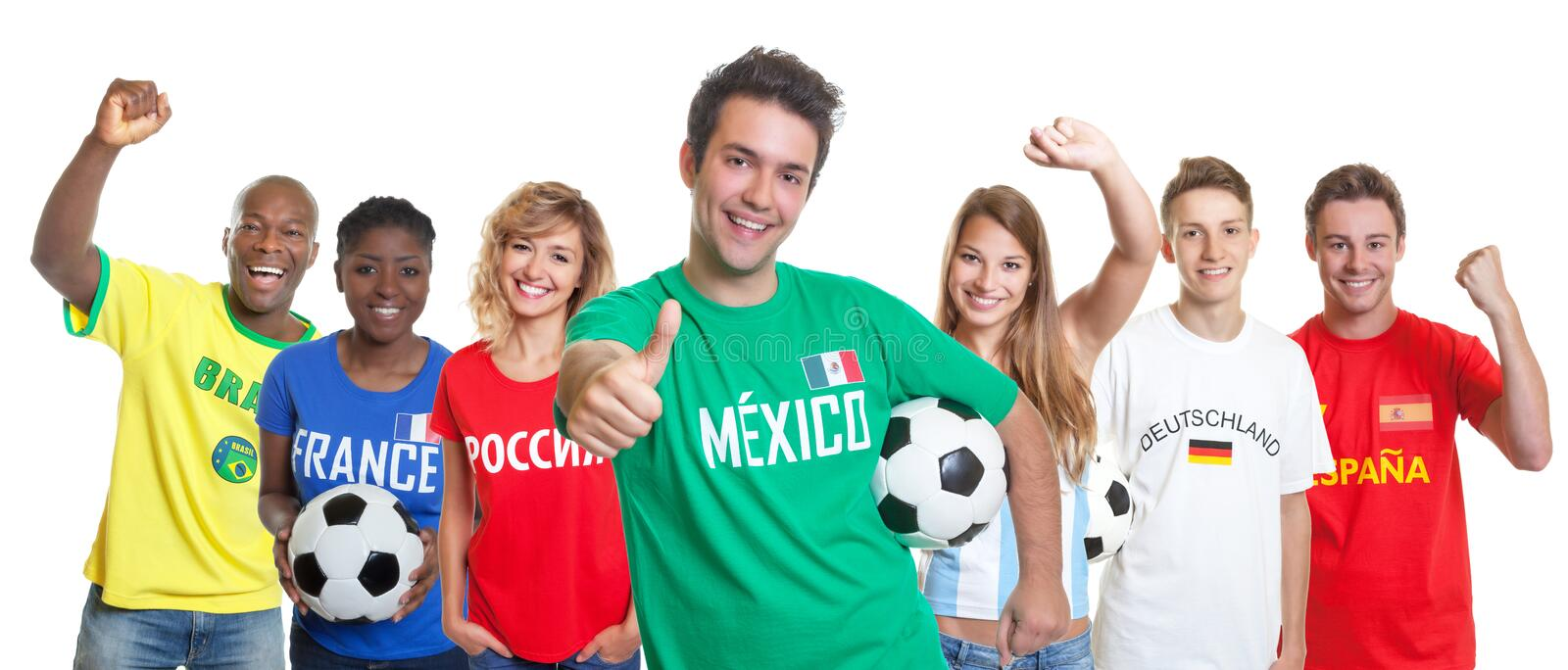 Optimistic mexican soccer supporter with ball and fans from other countries royalty free stock image