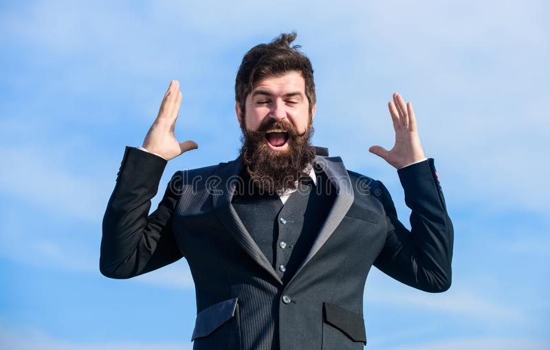 Optimistic mood. Think like optimist. Being optimistic. Hopeful and confident about future. Unexpected luck. Man bearded. Optimistic businessman wear formal royalty free stock images