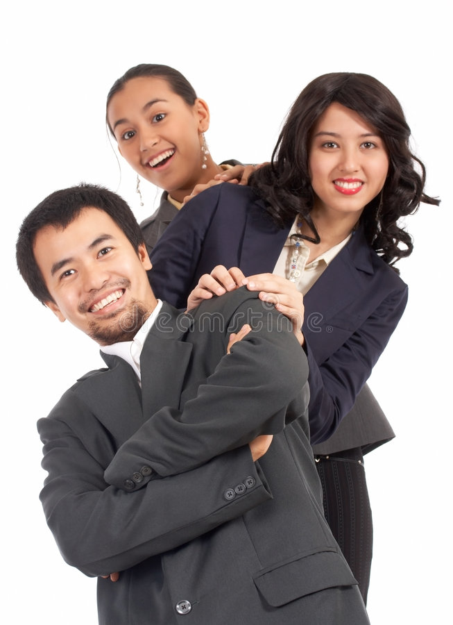 Optimistic young businesspeople stock image