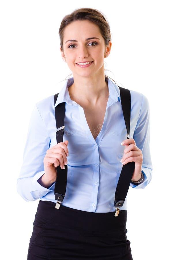 Optimistische geïsoleerde onderneemster in blauw overhemd, royalty-vrije stock foto