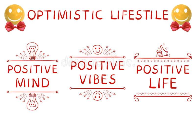 Optimistisk livsstil: positiv mening, positiv vibes, positiv drog beståndsdelar för liv hand och realistisk gul sfär royaltyfri illustrationer