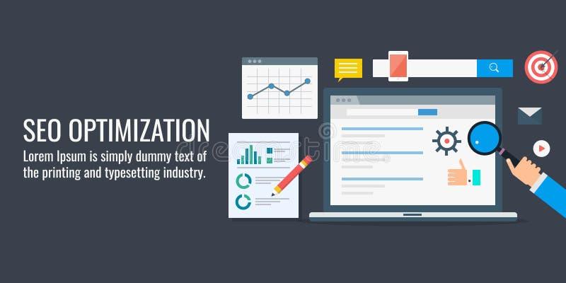 Optimización de Seo, datos y análisis de la información, hombre de negocios del seo que analiza el informe de rendimiento Bandera libre illustration