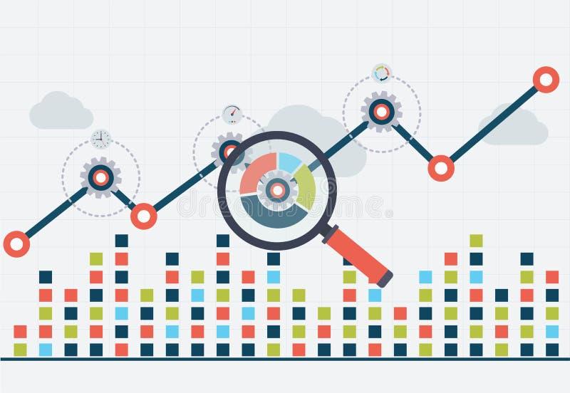 Optimización de SEO y analytics del web del negocio Carta con el gráfico para arriba stock de ilustración