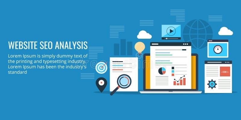 Optimización del Search Engine, análisis de datos de un sitio web Bandera plana del vector del diseño libre illustration