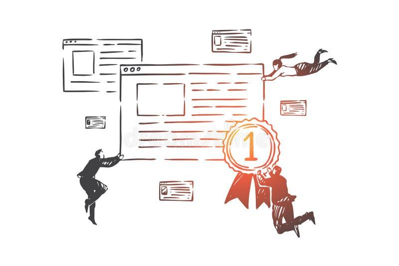 Optimización del Search Engine, bosquejo del concepto de SEO Ejemplo aislado dibujado mano del vector libre illustration