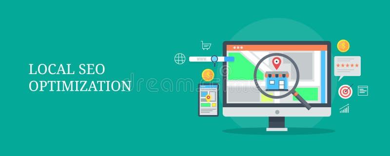 Optimización local del seo - busque el márketing para el negocio local, búsqueda local del negocio, mapa, concepto del anuncio Ba stock de ilustración