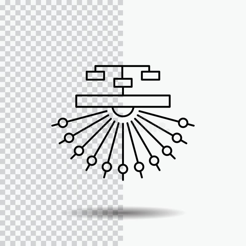 optimización, sitio, sitio, estructura, línea icono de la web en fondo transparente Ejemplo negro del vector del icono libre illustration
