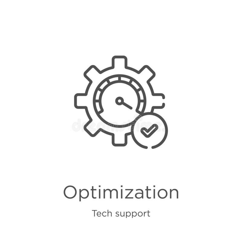 optimization icon vector from tech support collection. Thin line optimization outline icon vector illustration. Outline, thin line stock illustration