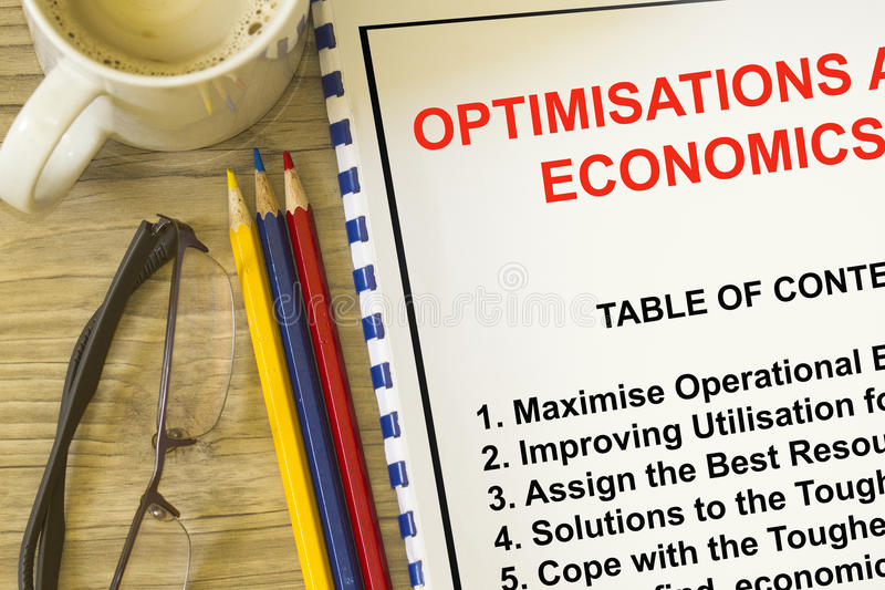 Optimization and utilization concept. Complete with topics on a cover sheet of a lecture royalty free stock photography