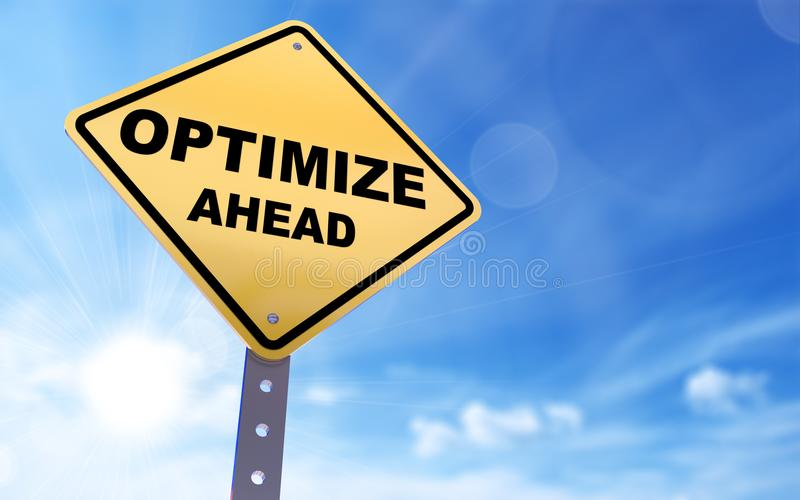Optimize sign. Optimize ahead sign on blue sky background,3d rendered vector illustration