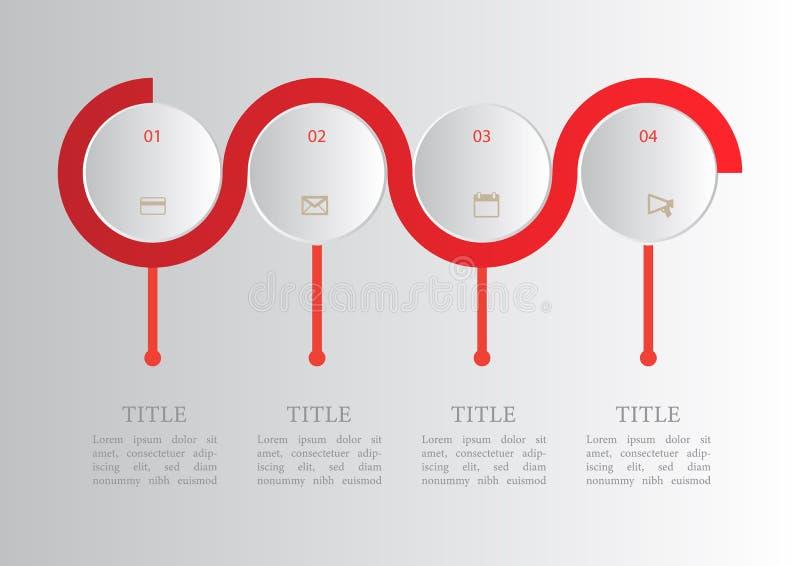 Option abstraite de l'infographics 4 d'élément de vecteur illustration stock