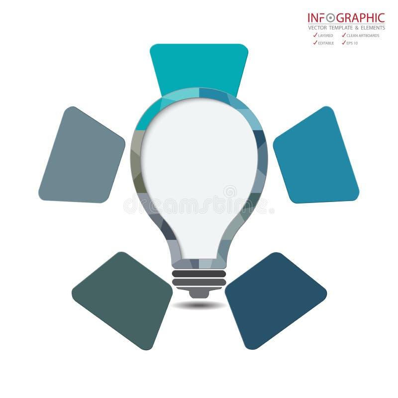 Option abstraite de l'infographics 5 d'élément de vecteur Conception pour le busine illustration stock