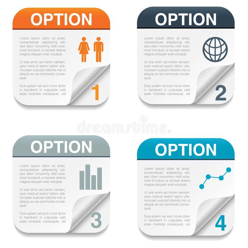 Option Backgrounds with Folding Paper Corner vector illustration