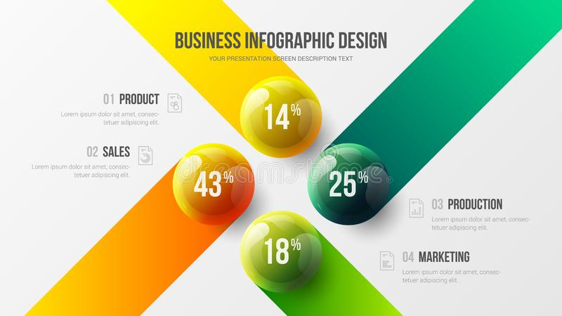 4 option business infographic presentation vector 3D colorful balls illustration. Corporate marketing analytics data report design layout. Company financial stock illustration
