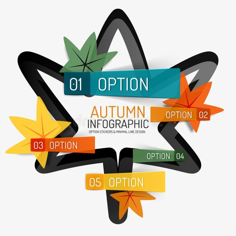 Option d'automne infographic, conception minimale de bannière illustration stock
