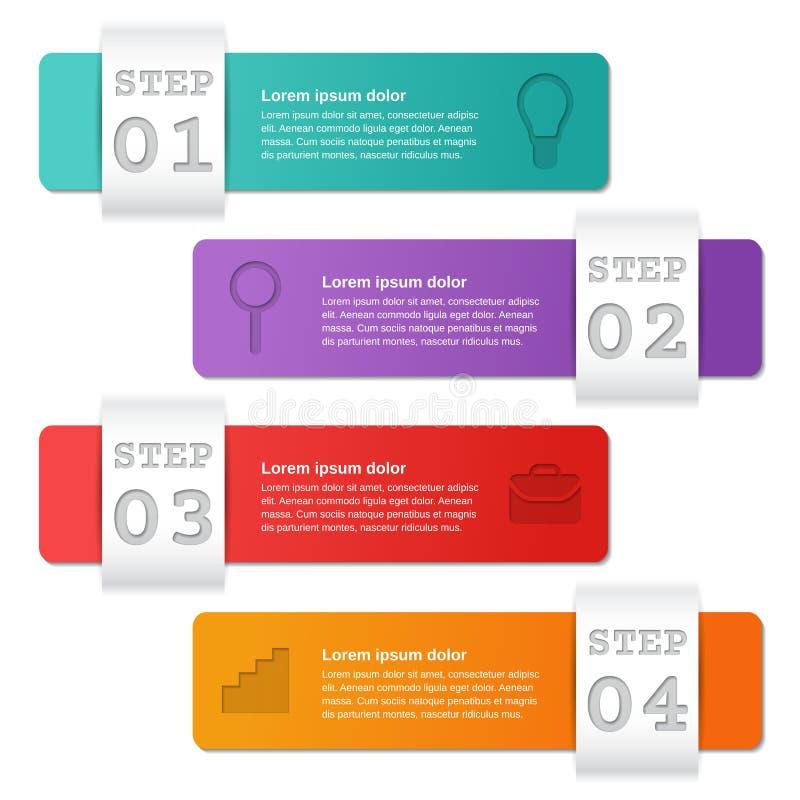 Option des calibres 4 d'Infographics, pièces, étapes Concept d'affaires illustration de vecteur