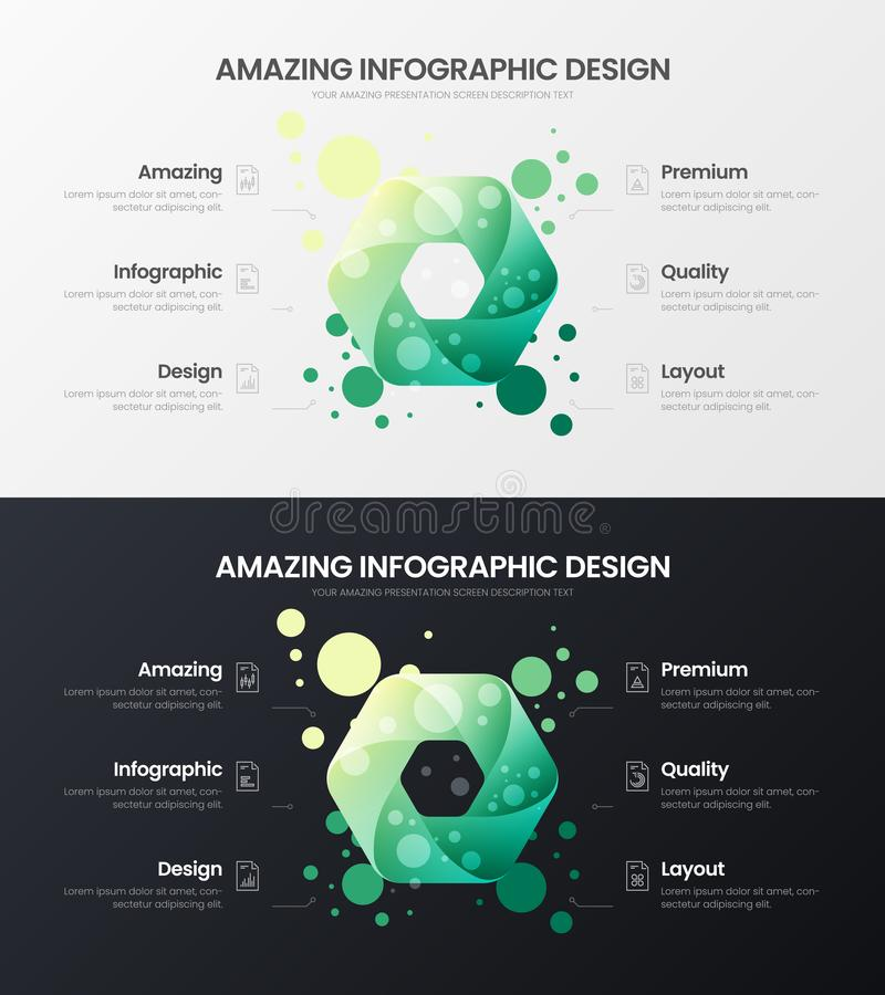 6 option hexahedron analytics vector illustration template set. Business data design layout.Organic statistics infographic bundle. royalty free illustration