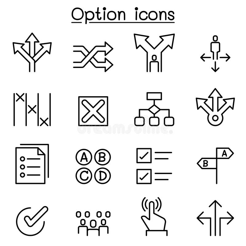 Option icon set in thin line style. Illustration graphic design royalty free illustration