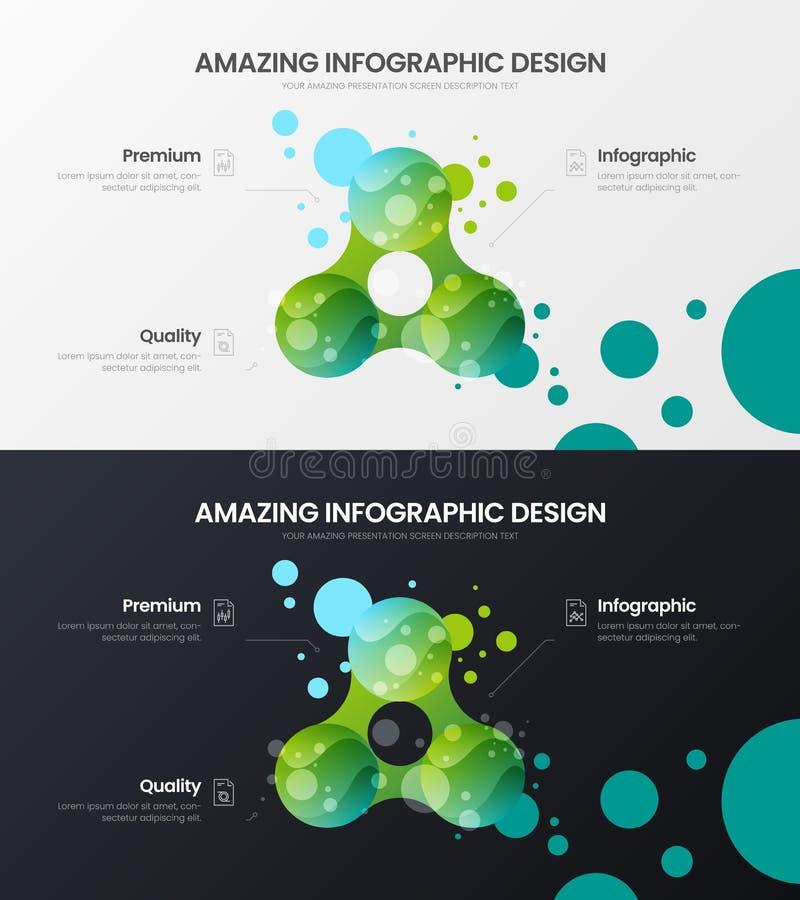 3 option marketing analytics data visualization design layout. Amazing colorful organic statistics infographic report bundle. Premium quality 3 option marketing royalty free illustration
