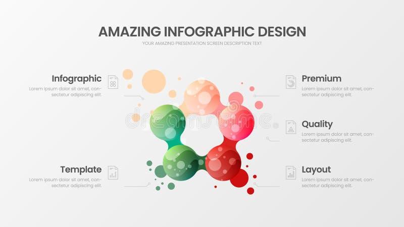 5 option marketing analytics vector illustration template. Creative organic business statistics infographic design layout. royalty free illustration