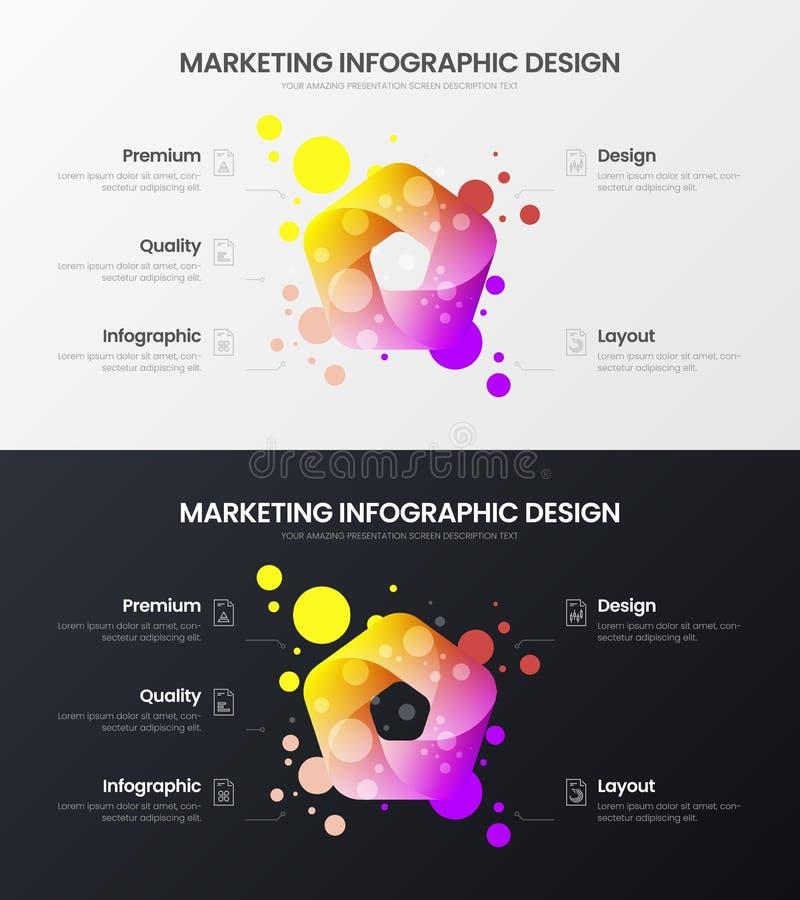 5 option marketing analytics vector illustration template set. Business data design layout. Organic statistics infographic bundle. Premium quality 5 option royalty free illustration