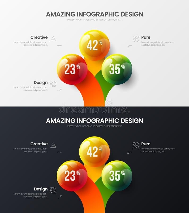 3 option marketing vector illustration bundle. Business data 3D balls corporate statistics design infographic set. Premium quality 3 option marketing analytics stock illustration
