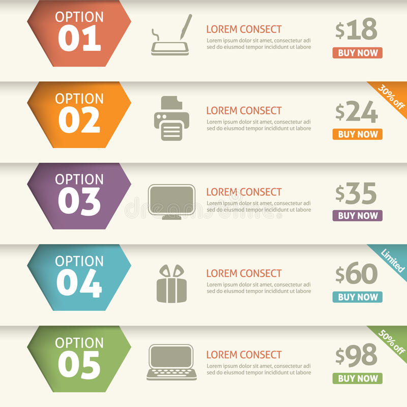 Option and price infographic vector illustration