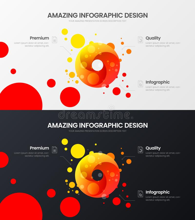 3 option round organic data visualization design layout set. Amazing vector illustration statistics infographic report bundle. stock illustration