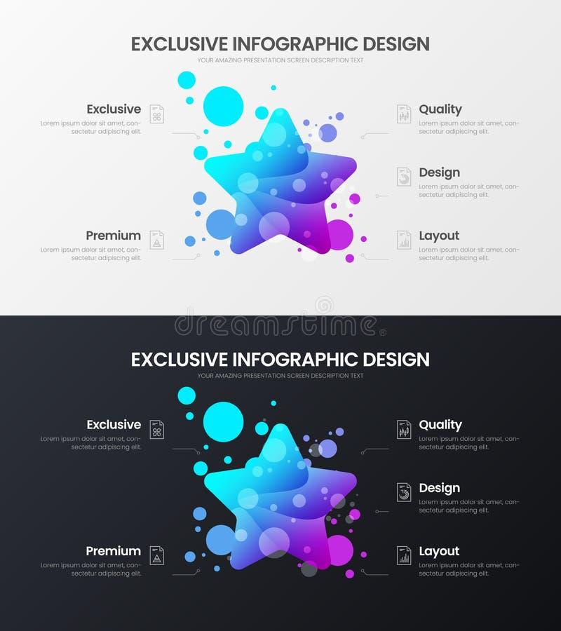 5 option star marketing analytics vector illustration template. Business data design layout set. Statistics infographic bundle. Premium 5 option star marketing vector illustration