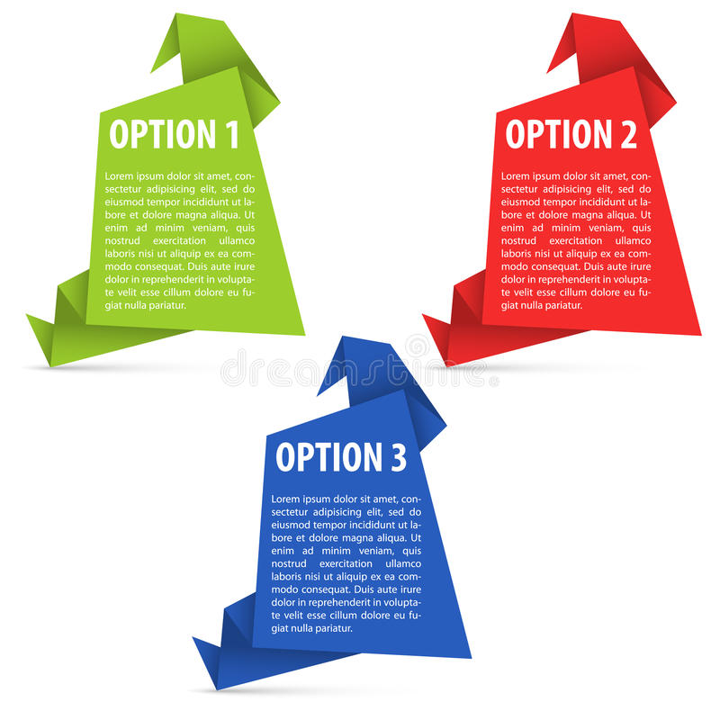 Optionen PapierOrigami vektor abbildung