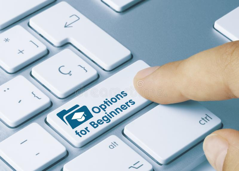 Options for Beginners - Inscription on Blue Keyboard Key royalty free stock image