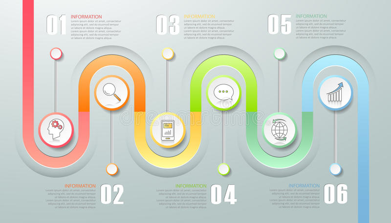 6 options business concept infographic template. Can be used for workflow layout, diagram, number options, timeline or milestones project stock illustration