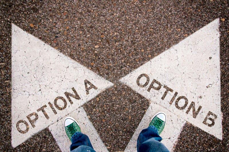 Options a et b photo stock