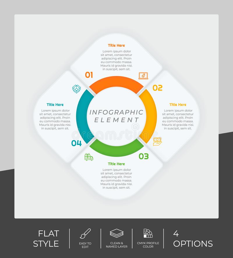 4 options of flat infographic  design with circle object for marketing. Option infographic can be used for presentation and. Business vector illustration